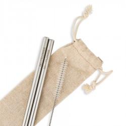 Καλαμάκια Ανοξείδωτα (2τμχ) της BeMyFlower ίσια/μακριά 215*8 mm και βουρτσάκι καθαρισμού
