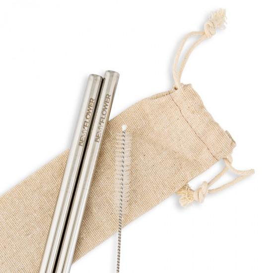 Καλαμάκια Ανοξείδωτα (2τμχ) της BeMyFlower με ίσια/μακριά 215*9mm και βουρτσάκι καθαρισμού