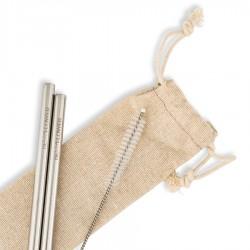 Καλαμάκια Ανοξείδωτα (2τμχ) της BeMyFlower με ίσια/κοντά 160*6 mm και βουρτσάκι καθαρισμού