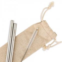 Καλαμάκια Ανοξείδωτα (2τμχ) της BeMyFlower ίσια/μακριά 215*6 mm και βουρτσάκι καθαρισμού